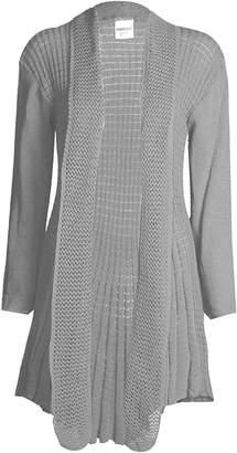 R KON New Women's Plus Size Knitted Plain Crochet Waterfall Open Cardigan