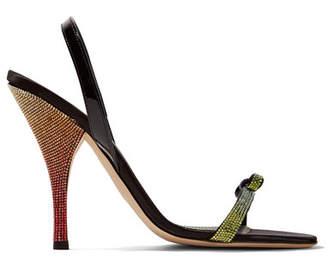 8cd96e84297d45 Marco De Vincenzo Patent Leather-trimmed Crystal-embellished Satin  Slingback Sandals - Black