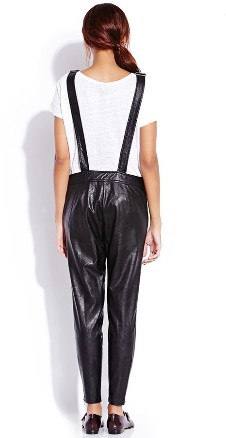Forever 21 Standout Faux Leather Overalls