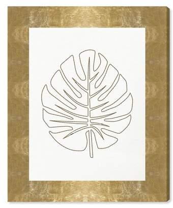 Stitched Palm Leaf I Canvas Wall Art
