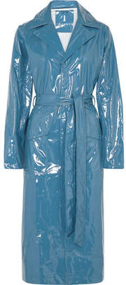 Rains Glossed-pu Trench Coat - Blue