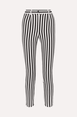 Dolce & Gabbana Cropped Striped Stretch-cady Slim-leg Pants - Black