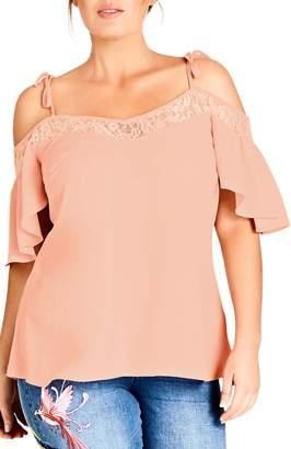 City Chic Lace Trim Off-Shoulder Top