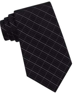 Calvin Klein Classic Fit Etched Windowpane Plaid Silk Tie