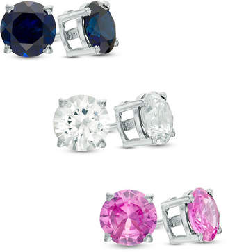 Zales 6.0mm Lab-Created Multi-Color Sapphire Three Pair Stud Earrings Set in Sterling Silver