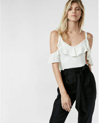 Express Ruffle Overlay Cold Shoulder Blouse $39.90 thestylecure.com