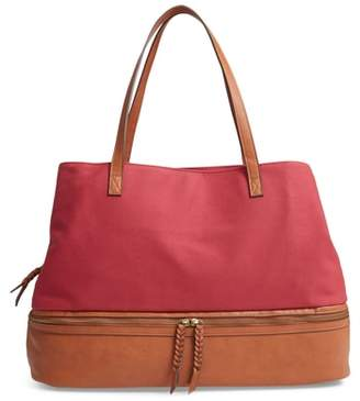 Street Level Faux Leather Trim Canvas Weekend Bag with Shoe Base