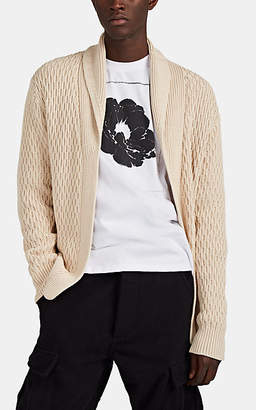 Barneys New York Men's Honeycomb-Knit Cotton Shawl-Collar Cardigan - Cream