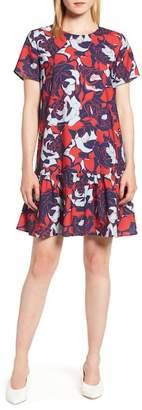 Halogen Short Sleeve Ruffle Hem Dress (Regular & Petite)