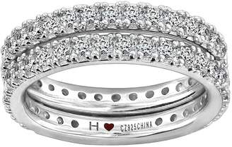 Diamonique Sterling Silver Double Eternity BandRing