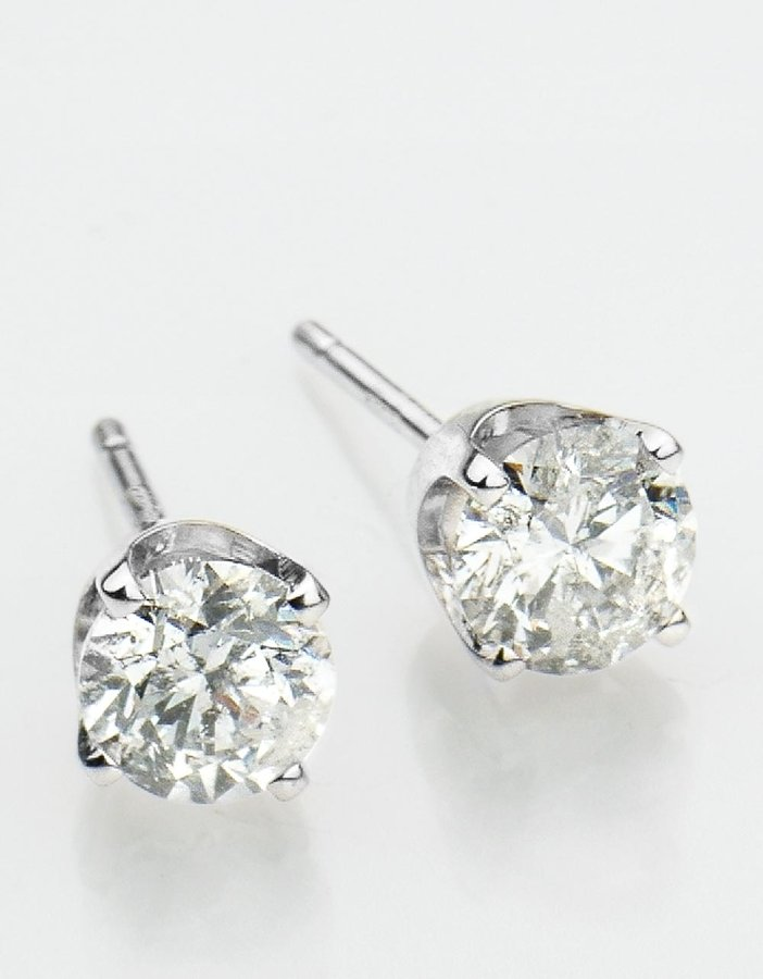 Lord & Taylor 14K White Gold 1-Carat Round Diamond Stud Earrings
