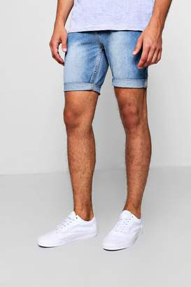 boohoo Slim Fit Denim Short in Vintage Wash