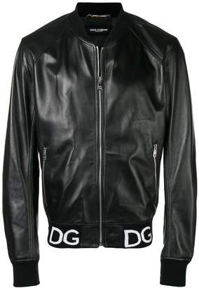 Dolce & Gabbana logo stripe bomber jacket