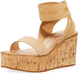 Gianvito Rossi Elastic Strap Cork Wedge Sandals