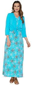 Denim & Co. Perfect Jersey Printed Maxi Dresswith Shrug