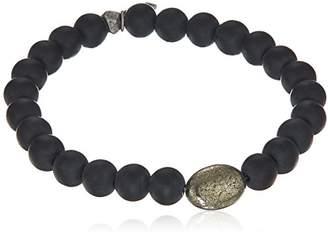 Ettika Mens Pyrite and Onyx Beaded Mens Bracelet