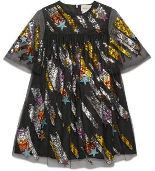 Gucci Children's tulle dress with shooting stars
