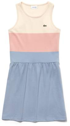 Lacoste Girls' Colorblock Cotton Pique Dress