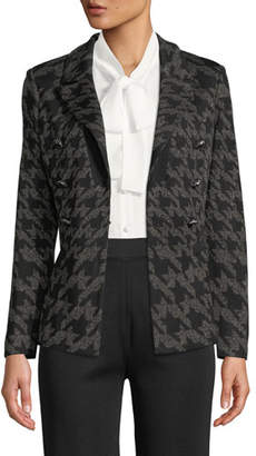 Misook Plus Size Houndstooth Knit Blazer Jacket
