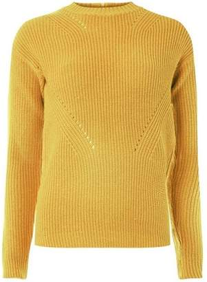 Dorothy Perkins Womens Yellow Ribbed Front-Stitch Jumper