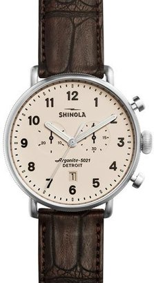 Shinola 43mm Canfield Chronograph Alligator Watch, Red $1,050 thestylecure.com