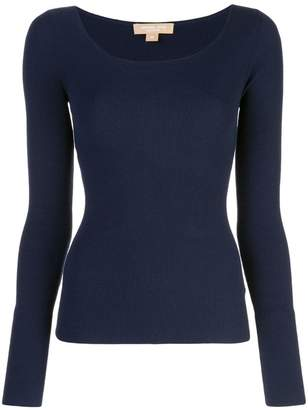 Michael Kors open neck ribbed top