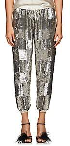 retrofête Women's Stacia Checked Sequined Jogger Pants-Silver