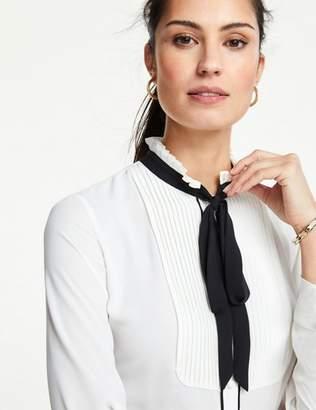 Ann Taylor Petite Tuxedo Bib Tie Neck Blouse