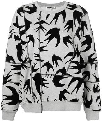 McQ swallow print asymmetric sweatshirt