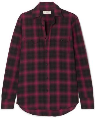 Saint Laurent Checked Cotton-flannel Shirt - Black