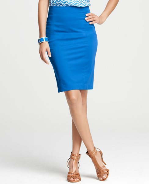 Tall Polished Cotton Pencil Skirt with Back Zip