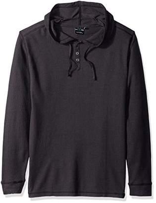 Burnside Men's Izzy Long Sleeve Henley Thermal Hooded Shirt