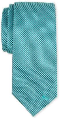 Burberry Green Textured Geo Pattern Silk Tie