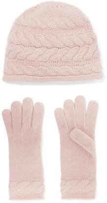 Portolano Cable-knit Cashmere Beanie And Gloves Set - Blush