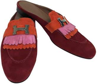 Hermes Red Suede Flats