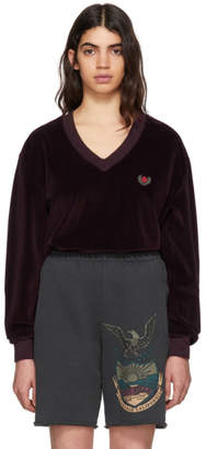 Yeezy Burgundy Velour Deep V-Neck Sweatshirt