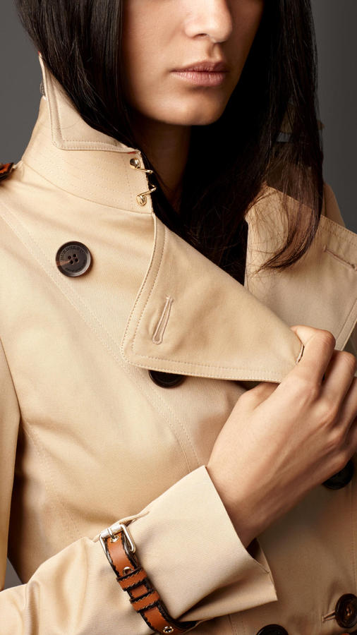 Burberry Mid-Length Leather Detail Gabardine Trench Coat