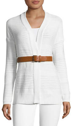 Tommy Hilfiger Long Sleeve Cardigan with Faux Leather Belt