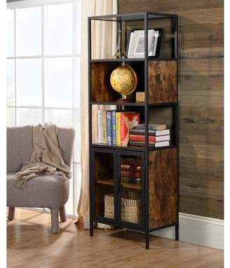 URBAN RESEARCH Homestar Hamilton Metal and wood display cabinet with glass in Antique Wood Finish
