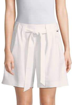 St. John Stretch Twill Tie-Front Shorts