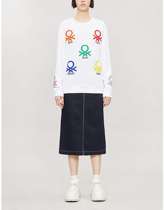Benetton Graphic-print round-neck cotton sweatshirt
