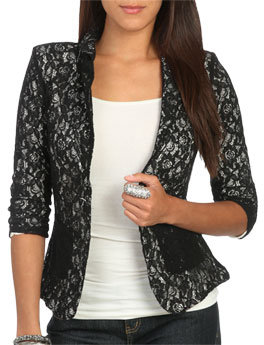 Wet Seal WetSeal Ruched Sleeve Lace Blazer Khaki