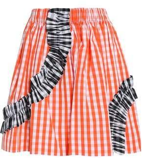 MSGM Ruched Gingham Cotton-Poplin Mini Skirt