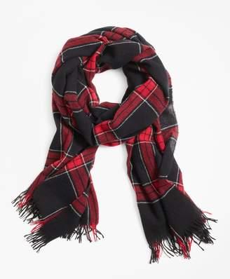 Brooks Brothers Red Windowpane Wool Scarf