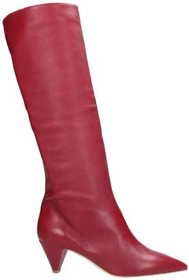The Seller Pointed Toe Red Calf Leather Boots