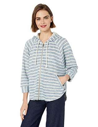 Lucky Brand Women's Stripe Hooded Poncho Sweatshirt