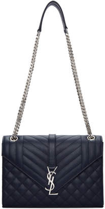 Saint Laurent Navy Medium Quilted Envelope Monogram Chain Bag