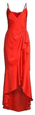 BCBGMAXAZRIA Women's Wrap Ruffle Midi Dress