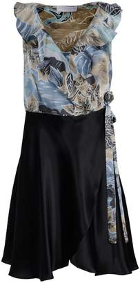Roses Are Red - Renee Silk Dress in Blue Floral and Black