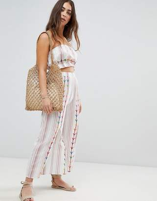 Asos Design DESIGN chevron embroidered split front beach co-ord pant